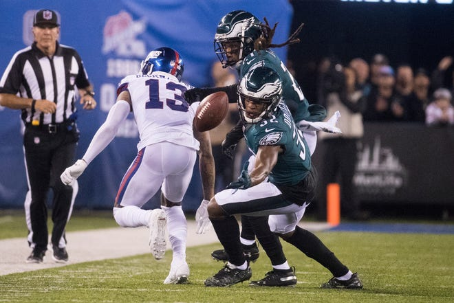 Rasul Douglas reaches for a pass intended for the Giants' Odell Beckham Jr. Douglas was playing safety Thursday, a position he had never played before in the NFL.