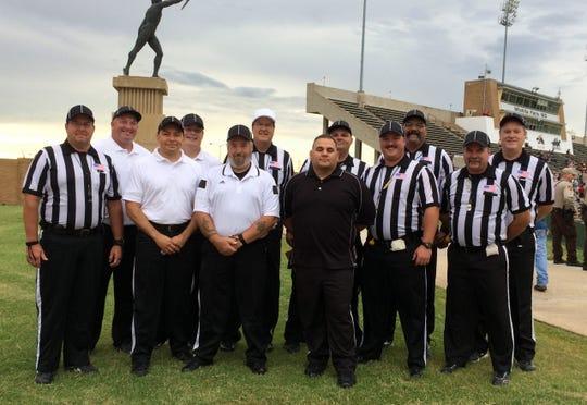 David Sanders with his Wichita Falls-area officiating team at Memorial Stadium.