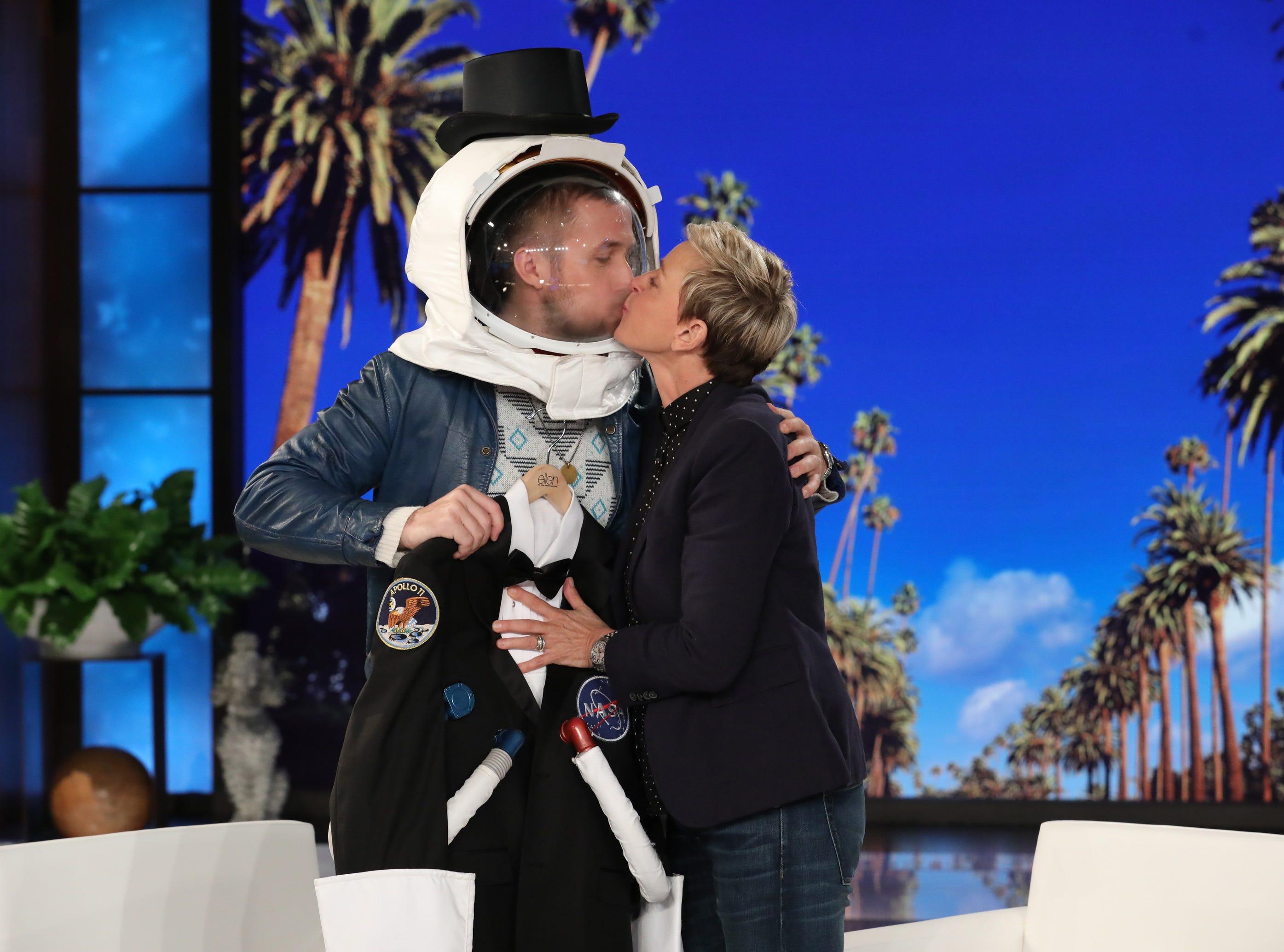 "Ryan Gosling did promote his film ""First Man"" on ""The Ellen DeGeneres Show"" Friday."