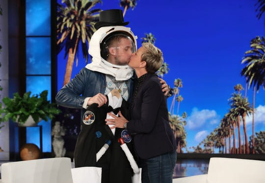 "Ryan Gosling did promote his film ""First Man"" on ""The Ellen DeGeneres Show"" Friday."