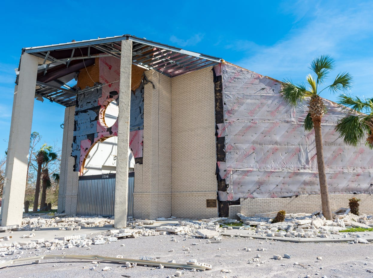 A church stands damaged by Hurricane Michael, in Panama City, Fla..