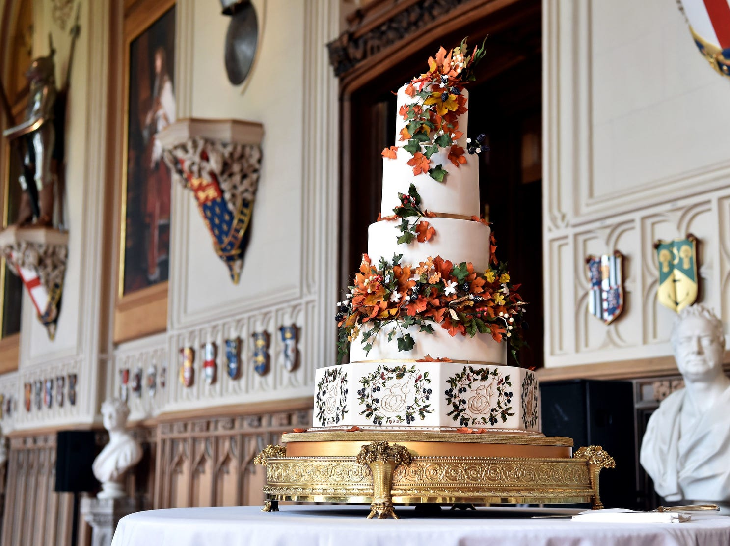The wedding cake, which was created Sophie Cabot for the wedding of Princess Eugenie of York and Mr. Jack Brooksbank pictured in St. George's Hall at Windsor Castle.