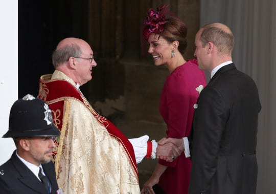 Prince William and Kate, Duchess of Cambridge arrive for the wedding of Princess Eugenie of York and Jack Brooksbank at St George's Chapel, Windsor Castle, near London, England, Friday Oct. 12, 2018.