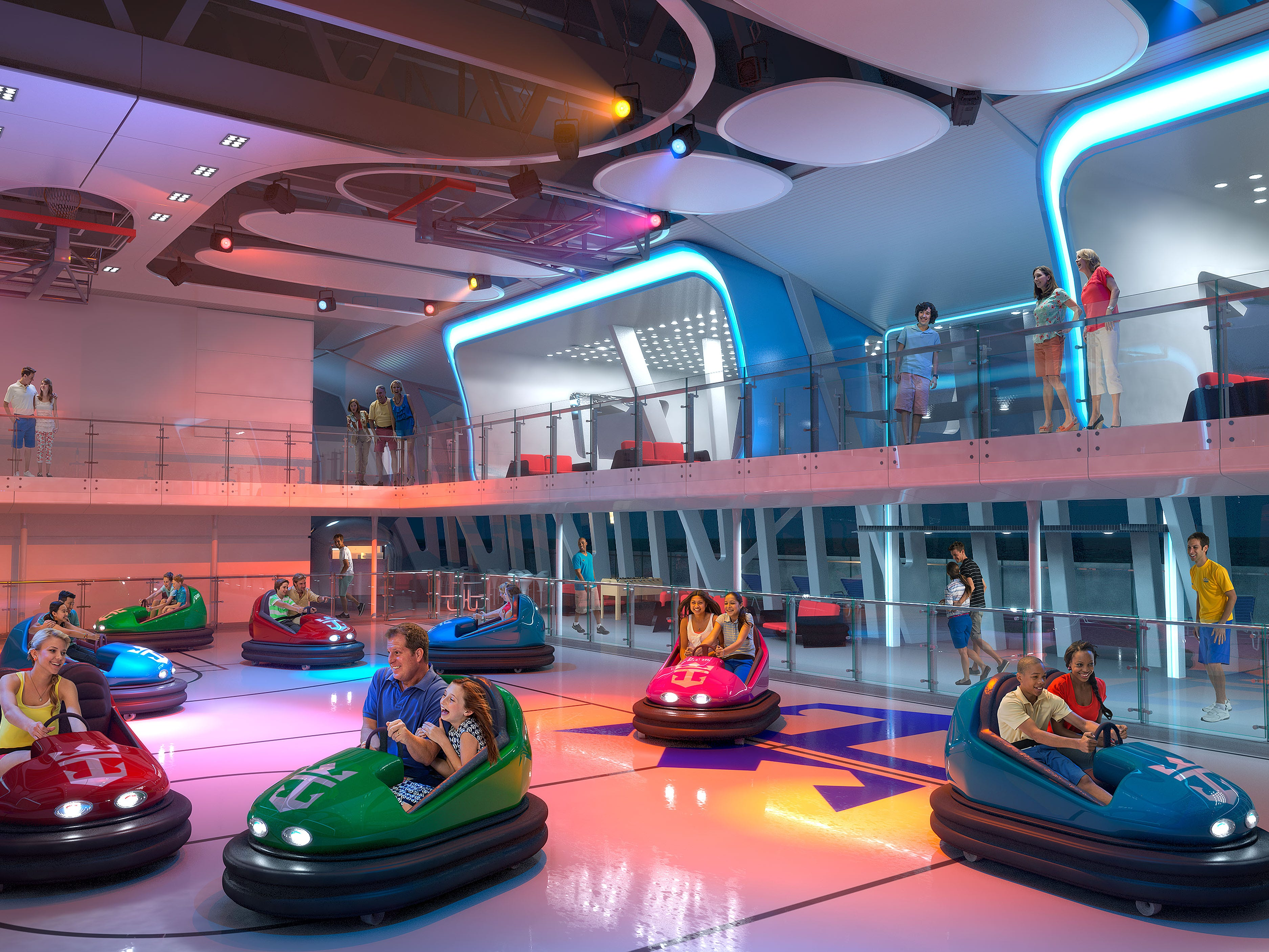 Among the most unusual deck-top attractions to have debuted on cruise ships in recent years are the enclosed bumper car rinks located at the top of Royal Caribbean's Quantum Class vessels.