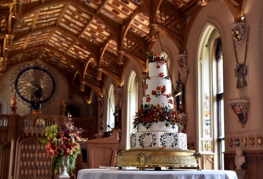 The red velvet-and-chocolate wedding cake, created by Sophie Cabot, in St. George's Hall at Windsor Castle on Oct. 12, 2018, at the reception for Princess Eugenie of York and her new husband Jack Brooksbank.