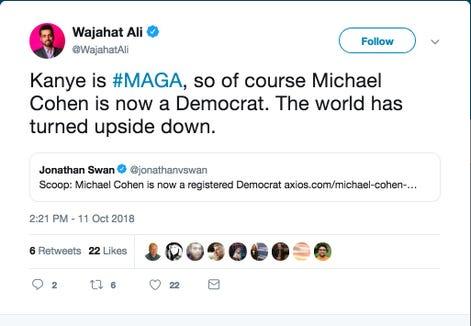 A tweet from Wajahat Ali.