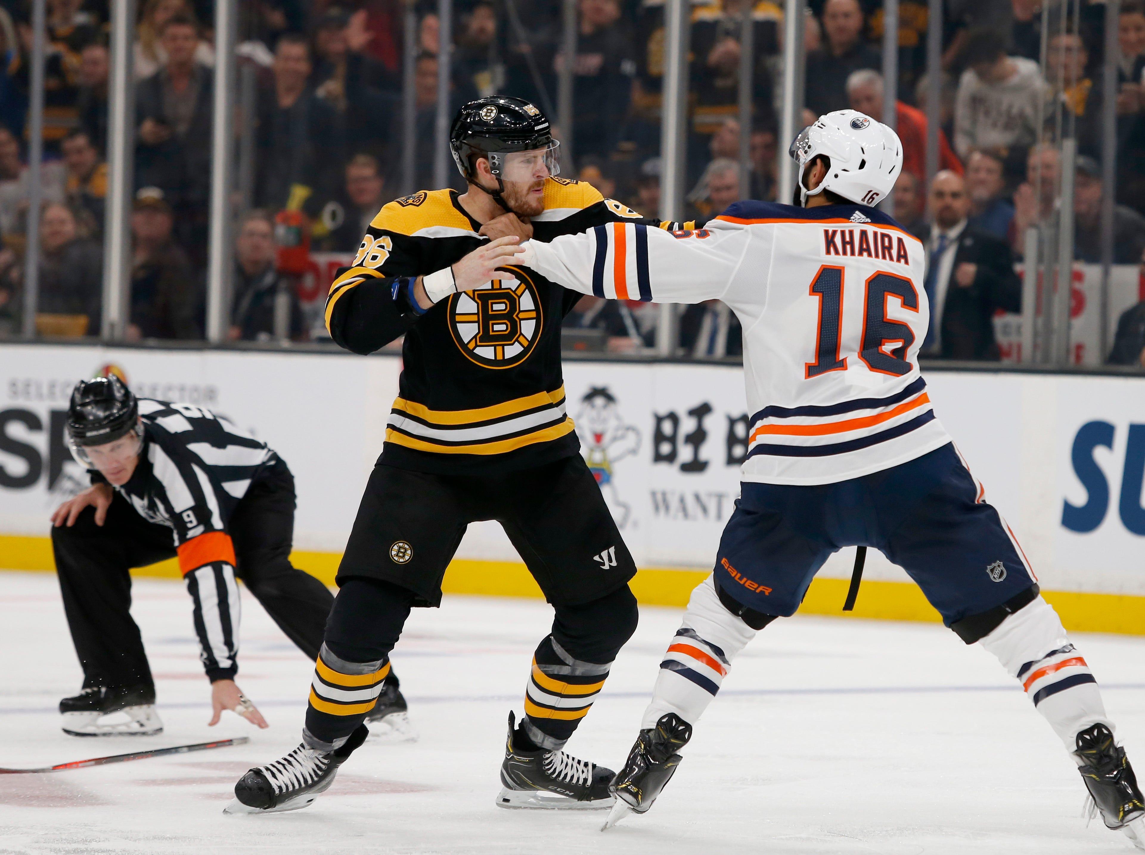 Oct. 11: Bruins' Kevan Miller vs. Oilers' Jujhar Khaira.