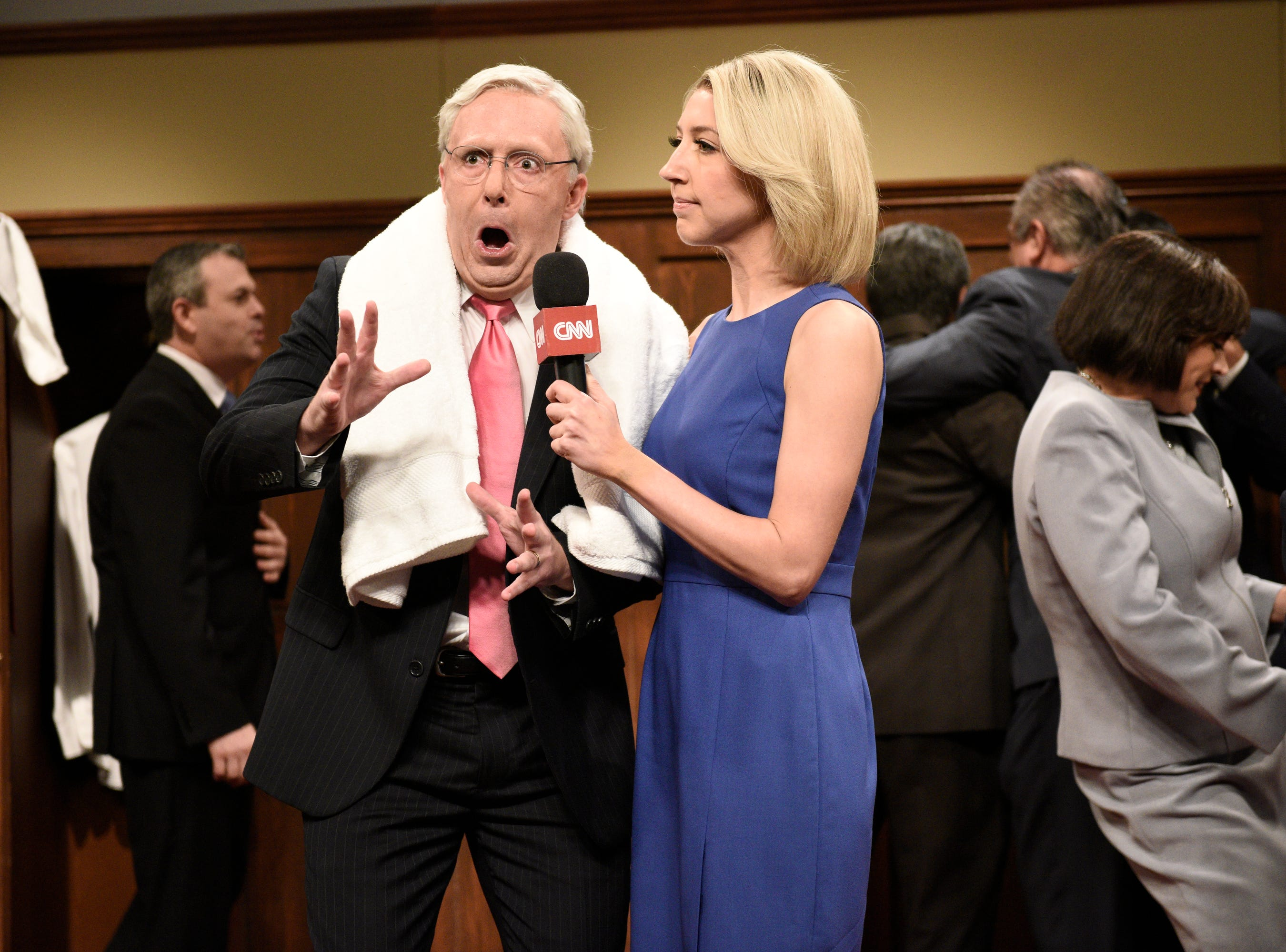 "In Episode 2, ""SNL"" imagined the GOP locker-room party after Brett Kavanaugh's Supreme Court confirmation. ""Everyone's pumped – from white men over 60 to white men over 70,"" said Sen. Mitch McConnell (Beck Bennett) to Heidi Gardner's Dana Bash."