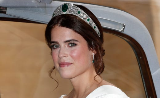 WINDSOR, ENGLAND - OCTOBER 12: Princess Eugenie of York arrives for her marriage to Jack Brooksbank at St George's Chapel, Windsor Castle on October 12, 2018 in Windsor, England. (Photo by Alastair Grant - WPA Pool/Getty Images) ORG XMIT: 775239781 ORIG FILE ID: 1051951124