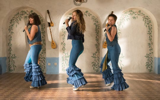 """Mamma Mia! Here We Go Again"" starring Lily James (center) is out on DVD."