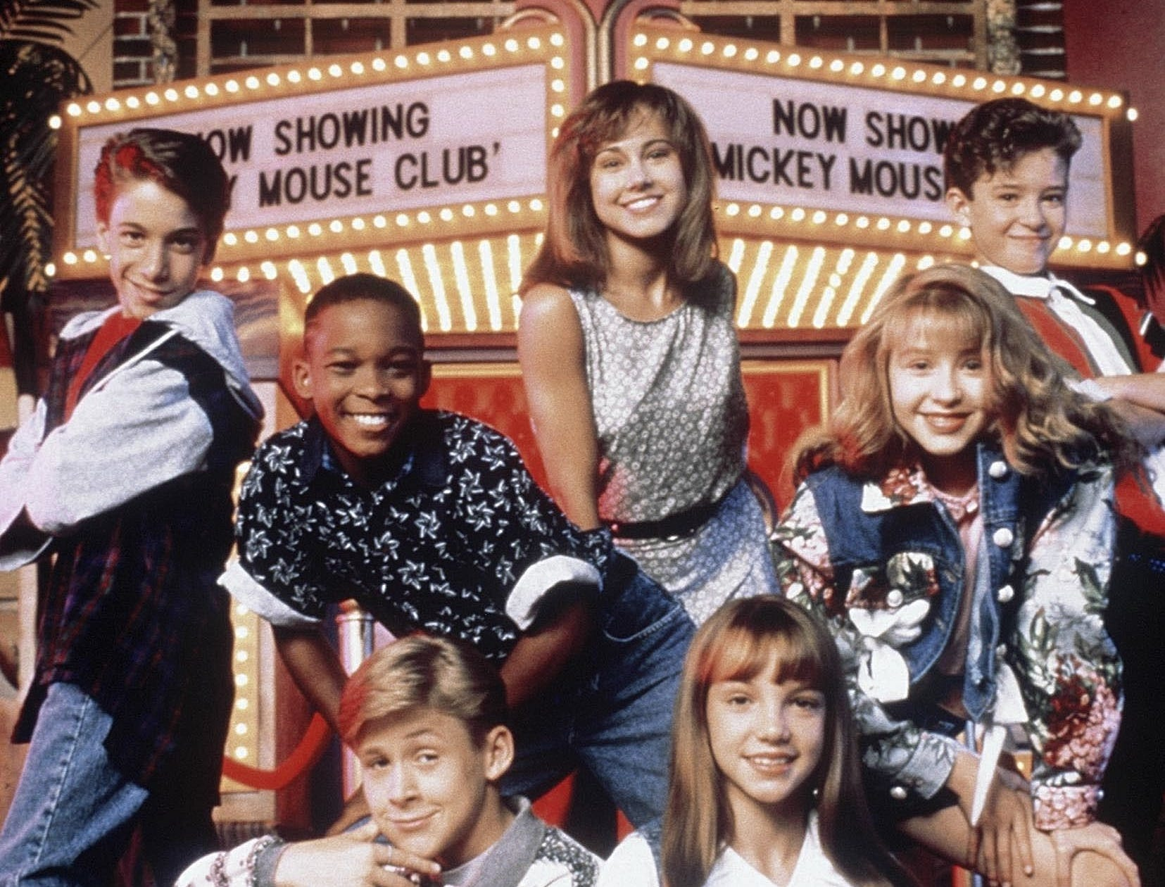 The club: Ryan Gosling (front left), Britney Spears (front right), Christina Aguilera (2nd row, right) and Justin Timberlake (of 'N Sync, 3rd row, right)