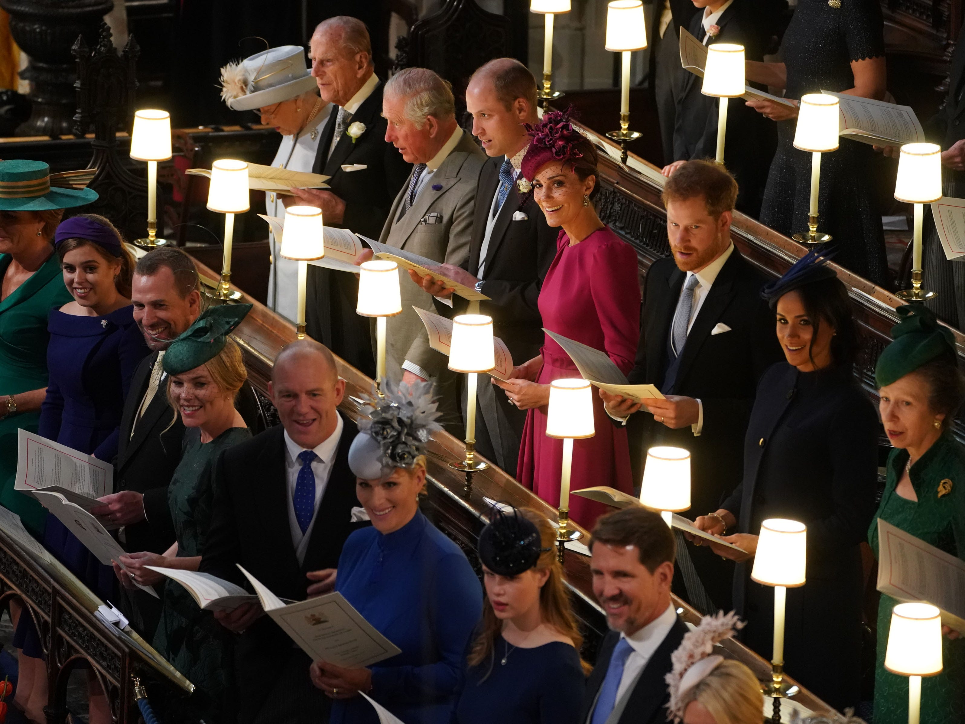 Back (L-R) Queen Elizabeth II, Prince Philip, Duke of Edinburgh, Prince Charles, Prince of Wales, Prince William, Duke of Cambridge, Catherine, Duchess of Cambridge, Prince Harry, Duke of Sussex, Meghan, Duchess of Sussex and Princess Anne, Princess Royal and (front L-R) Sarah Ferguson Princess Beatrice of York, Peter Phillips, Autumn Phillips, Mike Tindall, Zara Tindall  Lady Louise Windsor and Crown Prince Pavlos of Greece.