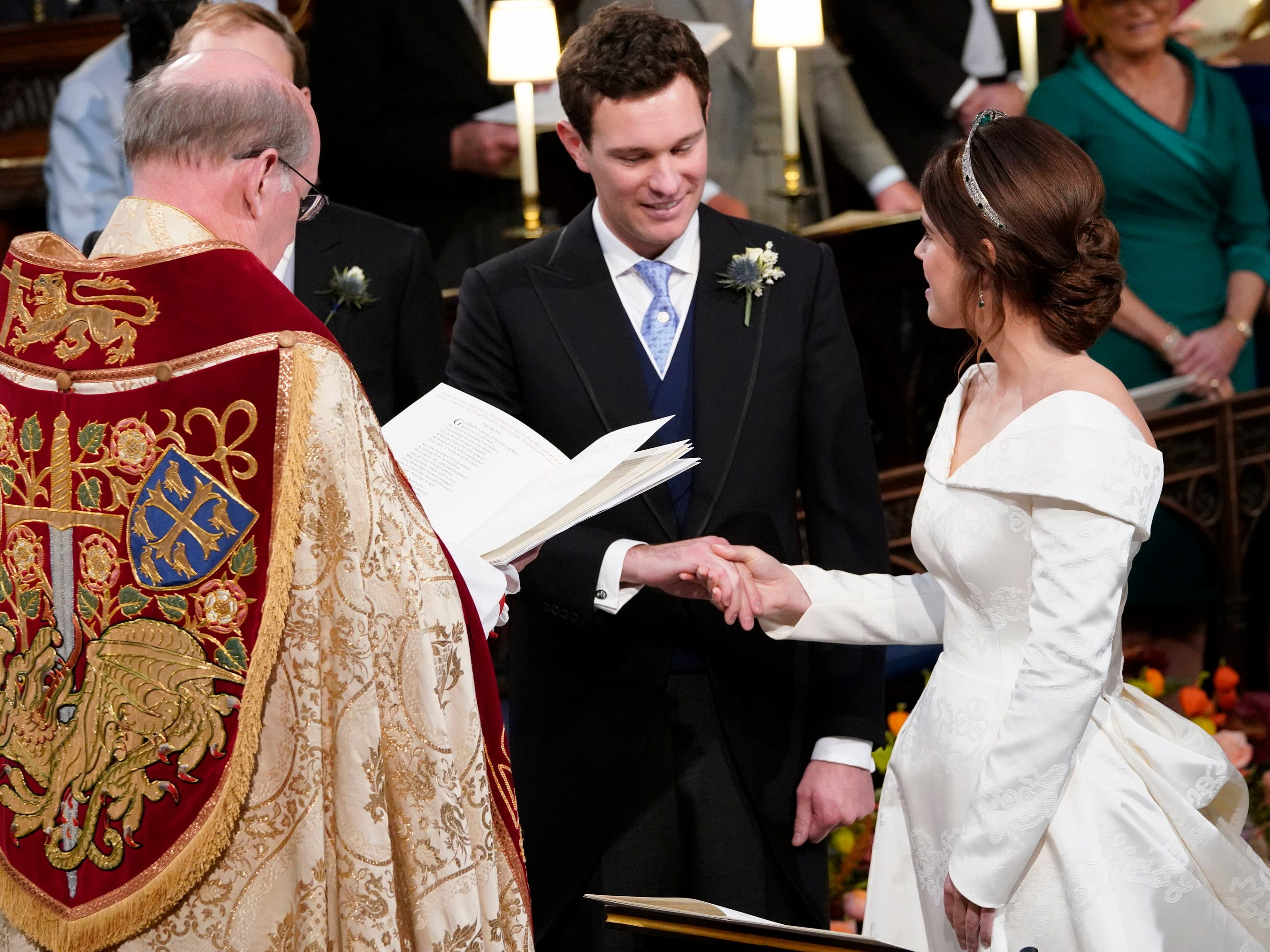 Britain's Princess Eugenie and Jack Brooksbank during their wedding ceremony.