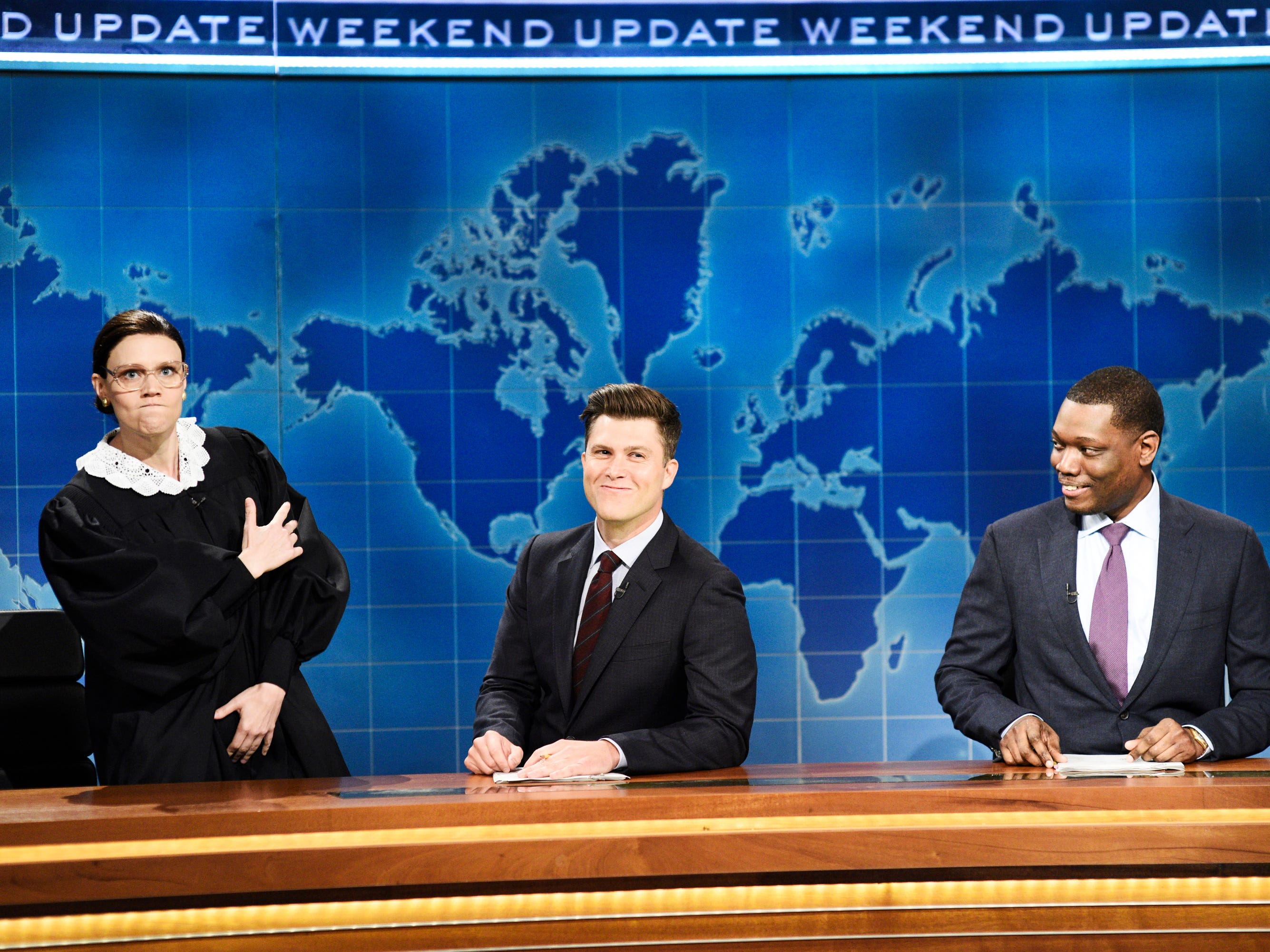 "Supreme Court Justice Ruth Bader Ginsburg (Kate McKinnon) also gave her opinion on the Kavanaugh testimony on ""Weekend Update."" ""He thinks his confirmation hearing is unfair?"" she asked incredulously. ""My confirmation hearing was they threw me in a river to see if I floated."" That's a Ginsburn!"