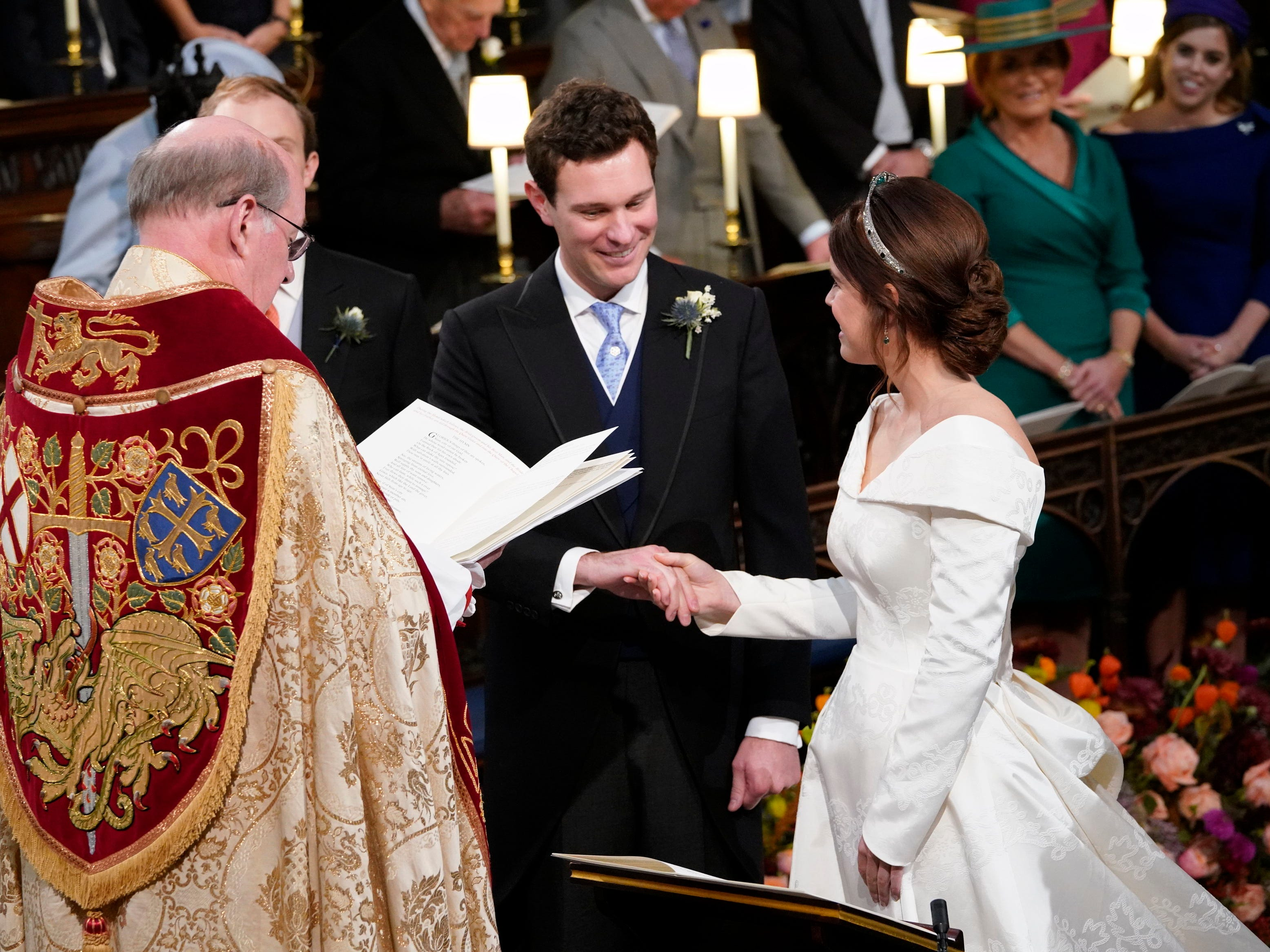 WINDSOR, ENGLAND - OCTOBER 12: Princess Eugenie and Jack Brooksbank during their  wedding ceremony at St George's Chapel in Windsor Castle on October 12, 2018 in Windsor, England. (Photo by Danny Lawson - WPA Pool/Getty Images) ORG XMIT: 775239781 ORIG FILE ID: 1051952288