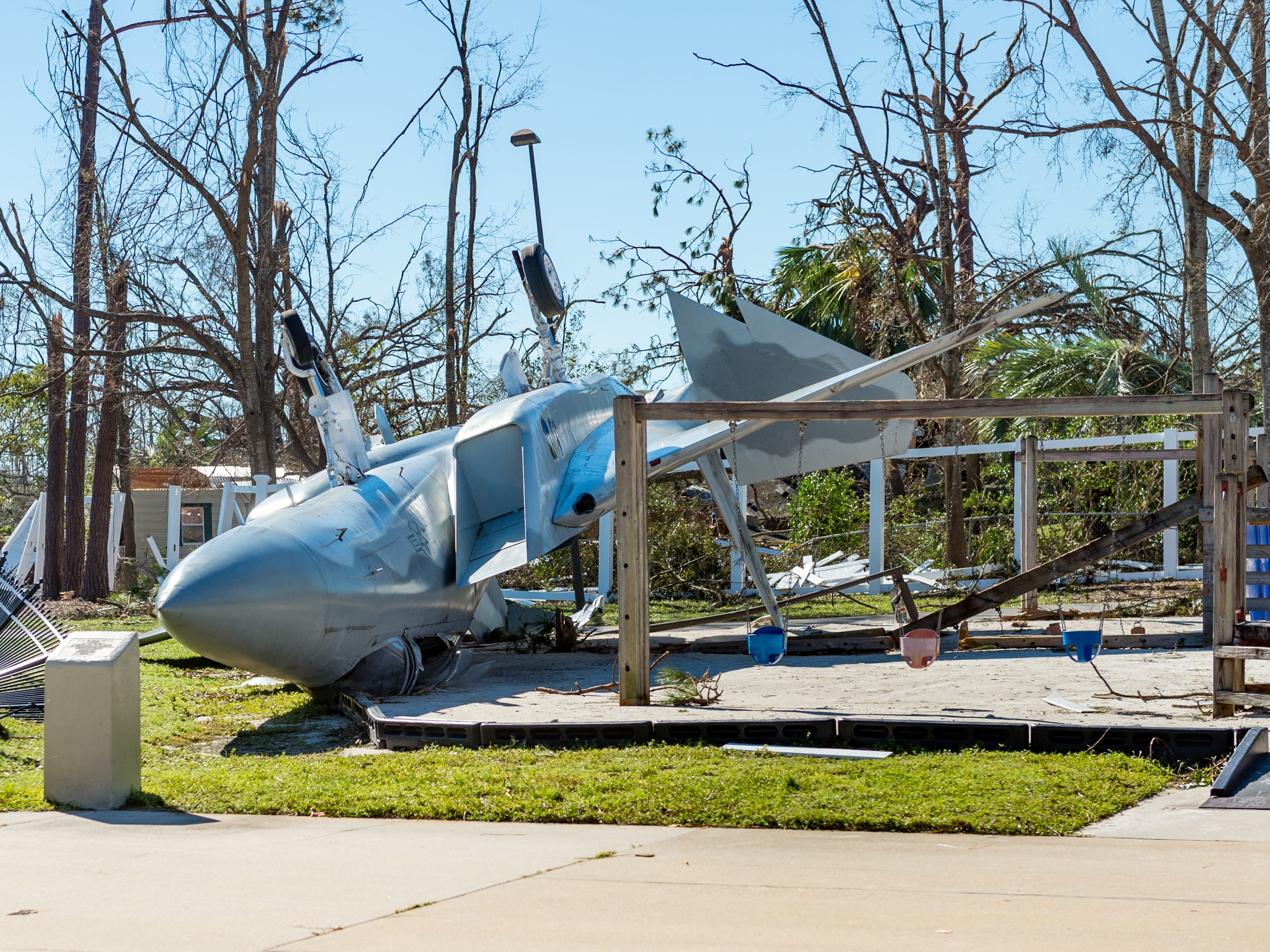 This is damage caused by Hurricane Michael in Panama City, Fla. Oct. 12, 2018. The aircraft was a display that turned over.