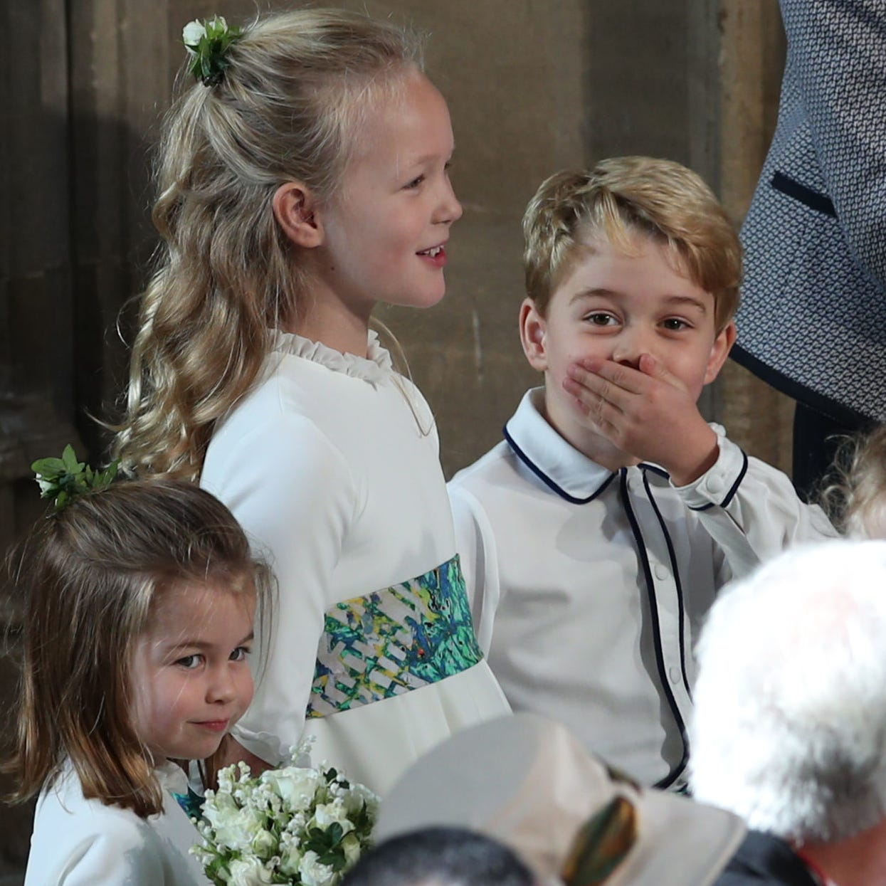 The bridesmaids and page boys at the wedding of Britain's Princess Eugenie and Jack Brooksbank on Oct. 12, 2018.
