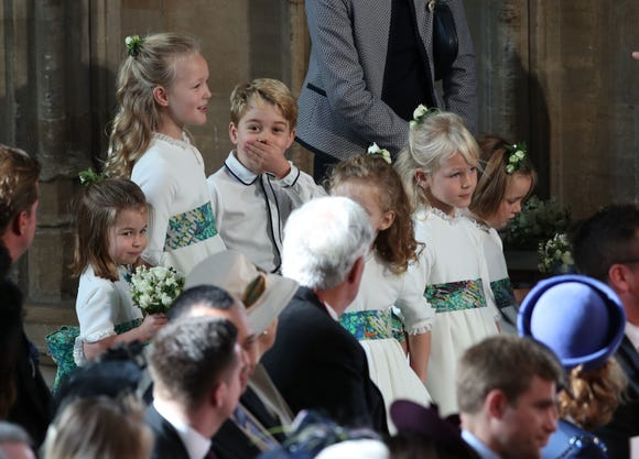 George realizing the cameras were on him at the royal wedding.