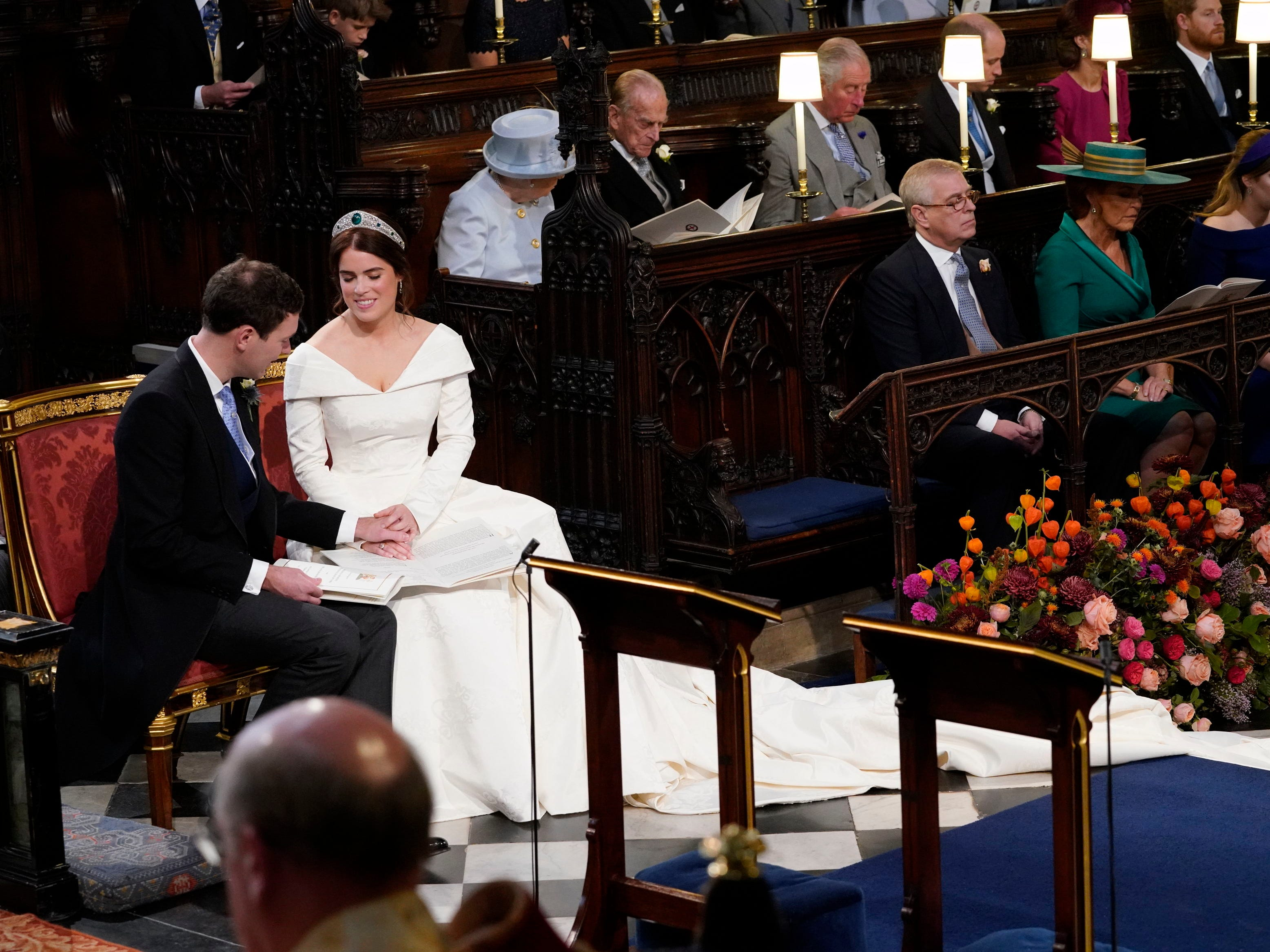 WINDSOR, ENGLAND - OCTOBER 12: Princess Eugenie and Jack Brooksbank during their  wedding ceremony at St George's Chapel in Windsor Castle on October 12, 2018 in Windsor, England. (Photo by Danny Lawson - WPA Pool/Getty Images) ORG XMIT: 775239781 ORIG FILE ID: 1051952282