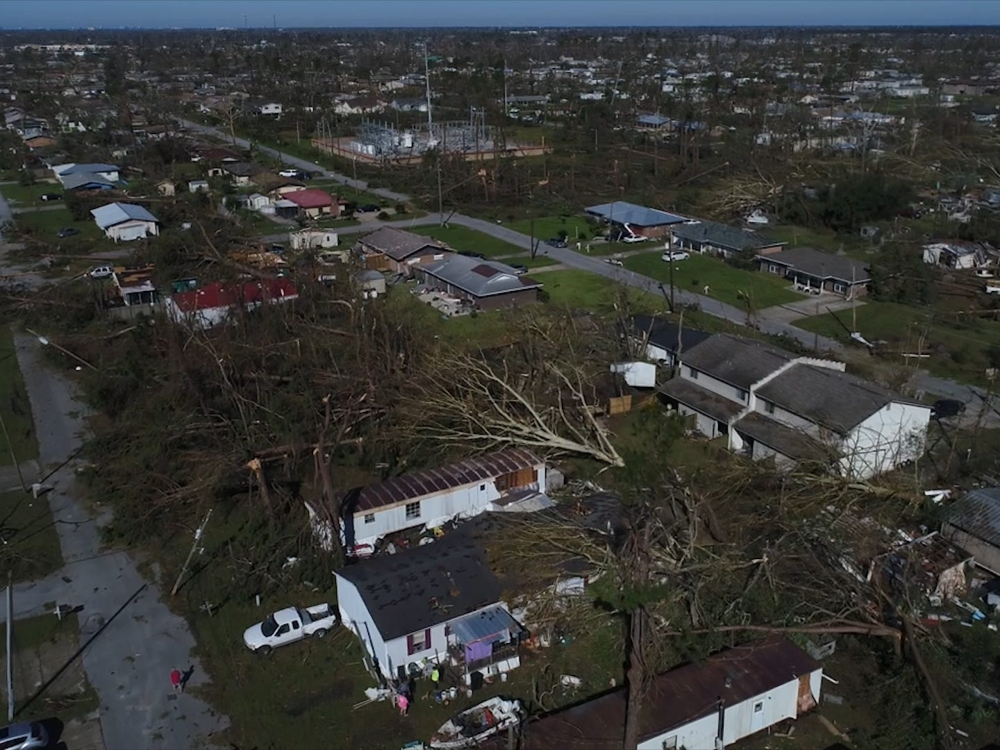 An aerial view of Hurricane Michael's aftermath in Panama City, Florida.