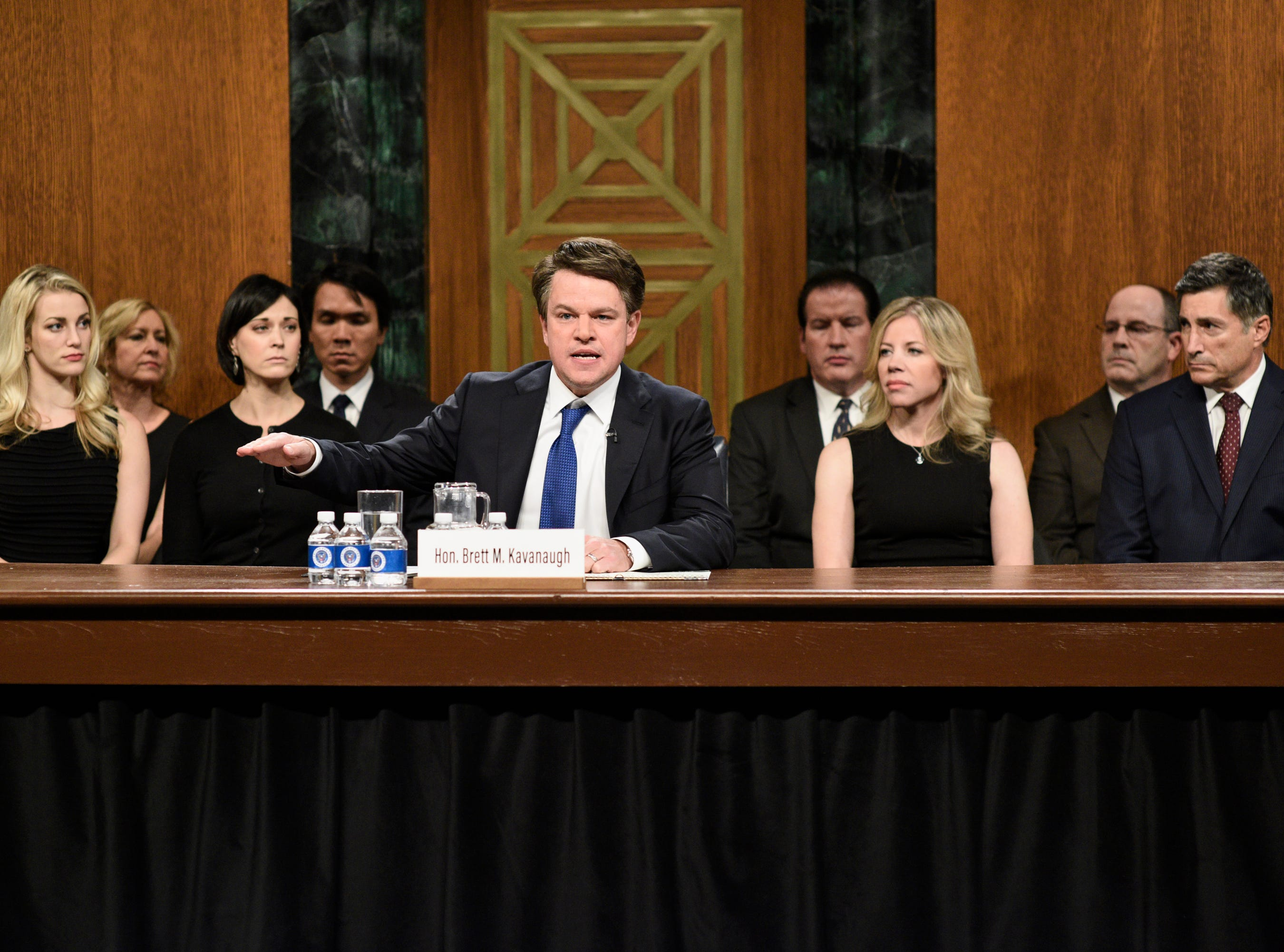 """SNL"" tapped surprise guest Matt Damon to play Judge Brett Kavanaugh in its season-opening skit, a send up of the then-Supreme Court nominee's testimony before the Senate. ""Now I'm usually an optimist – a 'the keg is half-full' kind of guy,"" Damon's Kavanaugh said. ""But what I've seen from the monsters on this committee makes me want to puke – and not from beer."""