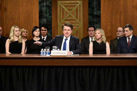 """""""SNL"""" tapped surprise guest Matt Damon to play Judge Brett Kavanaugh in its season-opening skit, a send up of the then-Supreme Court nominee's testimony before the Senate. """"Now I'm usually an optimist – a 'the keg is half-full'kind of guy,"""" Damon's Kavanaugh said.""""But what I've seen from the monsters on this committee makes me want to puke – and not from beer."""""""