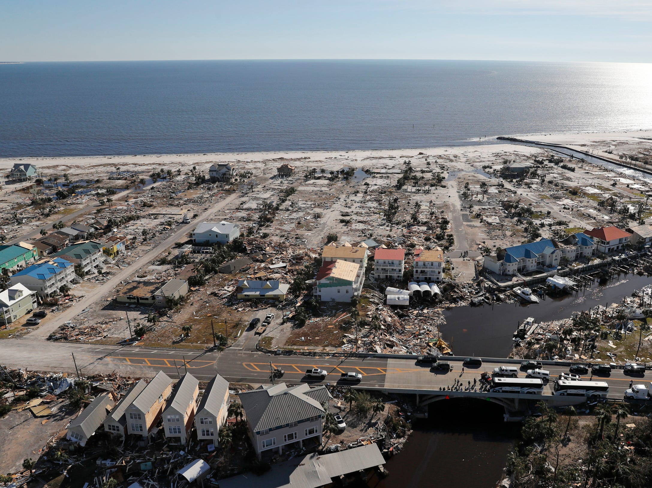 Devastation from Hurricane Michael is seen in this areal photo over Mexico Beach, Fla., on Friday, Oct. 12, 2018.