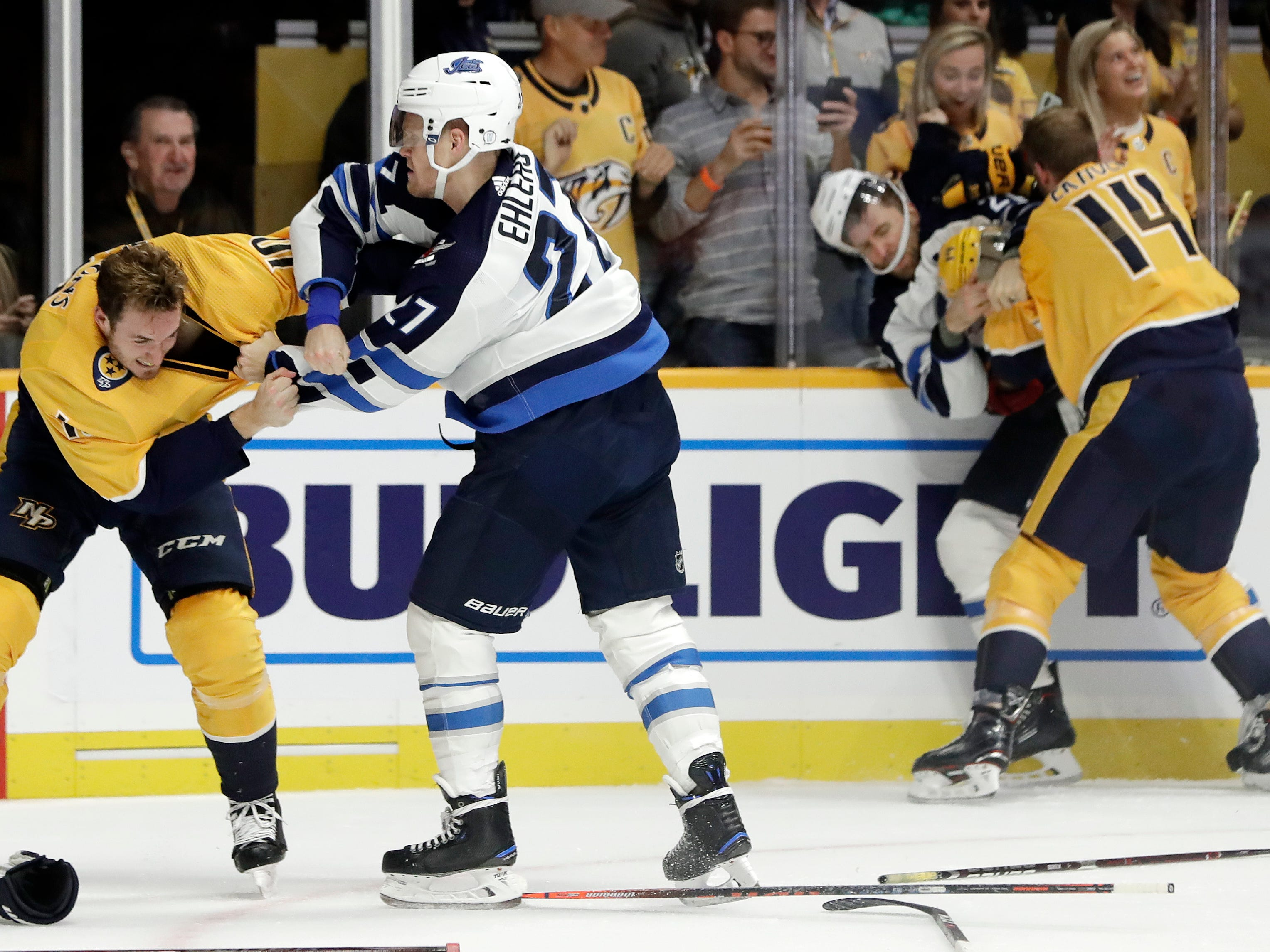 Oct. 11: Predators' Colton Sissons vs. Jets' Nikolaj Ehlers and Predators' Mattias Ekholm vs. Jets' Blake Wheeler