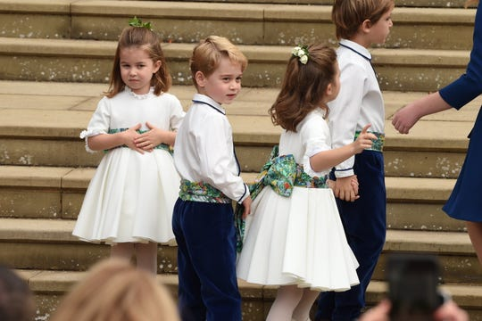 Princess Charlotte and Prince George arrived after their parents because of their roles as bridesmaids and grandsons.