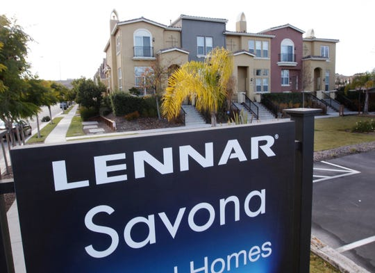 FILE - In this Jan. 6, 2012, file photo, Lennar homes are advertised for sale in San Jose, Calif. Lennar Corp. reports financial results on Tuesday, Sept. 20, 2016. (AP Photo/Paul Sakuma, File) ORG XMIT: NYBZ207
