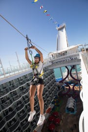A zip line is among the attractions on Royal Caribbean's Symphony of the Seas.