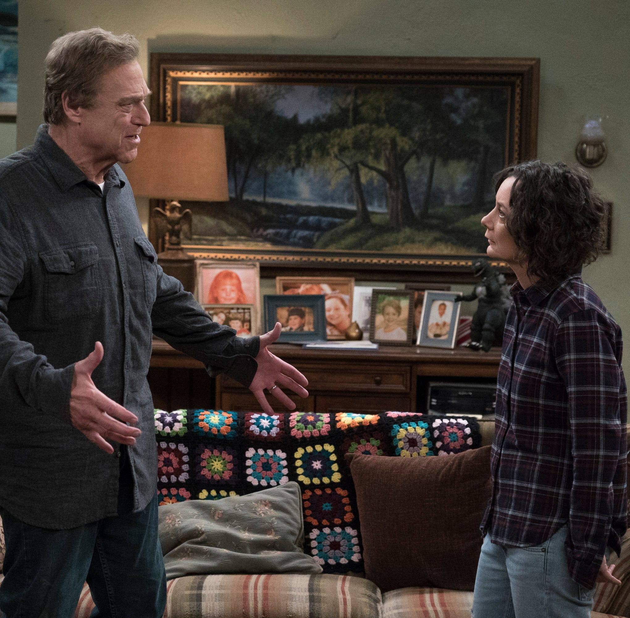 Dan Conner (John Goodman), left, and his daughter, Darlene (Sara Gilbert), must adjust to the loss of wife and mother Roseanne when 'Roseanne' spinoff 'The Conners' premieres Tuesday on ABC.