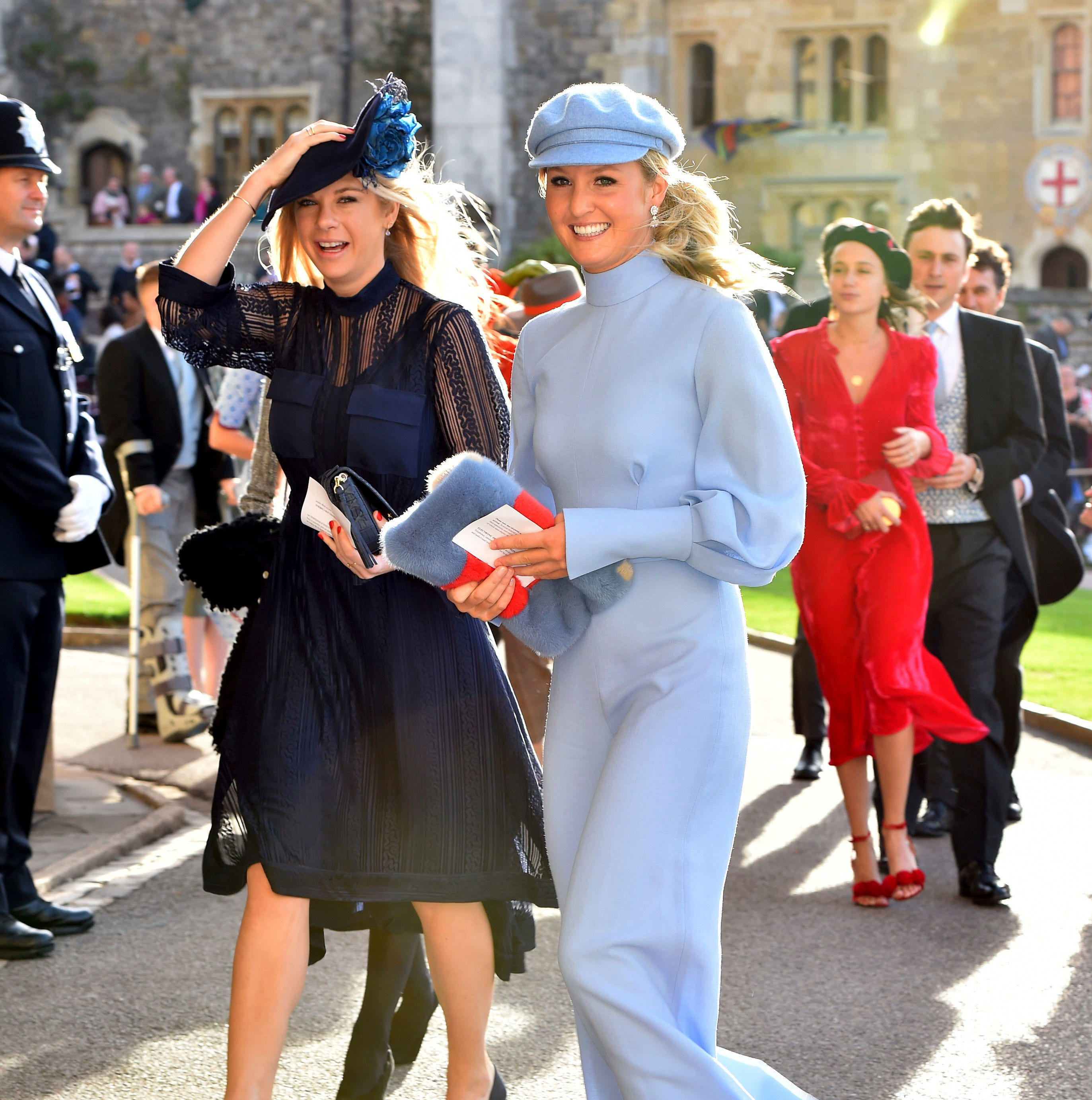 Chelsy Davy, left, arrives for the wedding of...