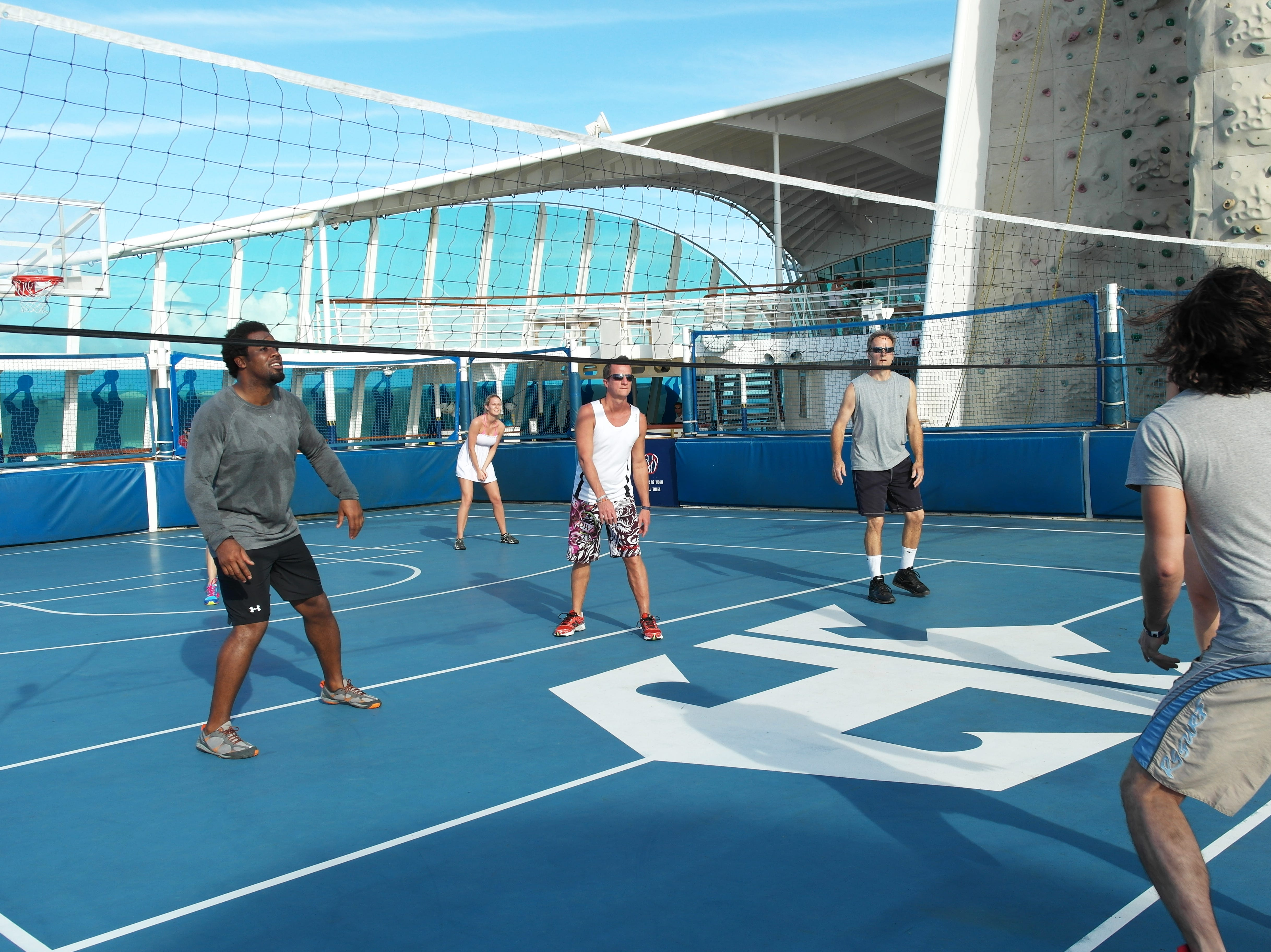 A volleyball court is another deck-top diversion found on Royal Caribbean's Quantum Class ships.