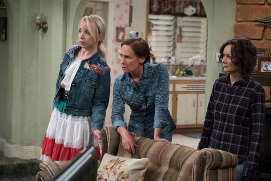 'Roseanne' veterans Lecy Goranson, left, Laurie Metcalf and Sara Gilbert are back for the legendary sitcom's Roseanne Barr-less spinoff, 'The Conners.'