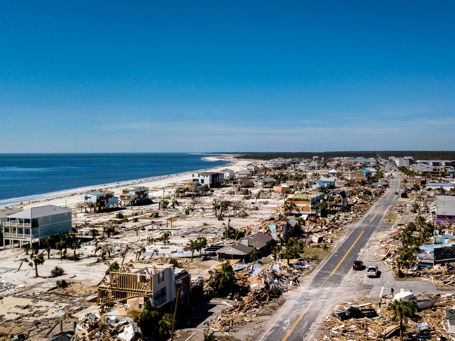 Where homes once stood now remains debris and destruction caused by category four Hurricane Michael in Mexico Beach on Friday.