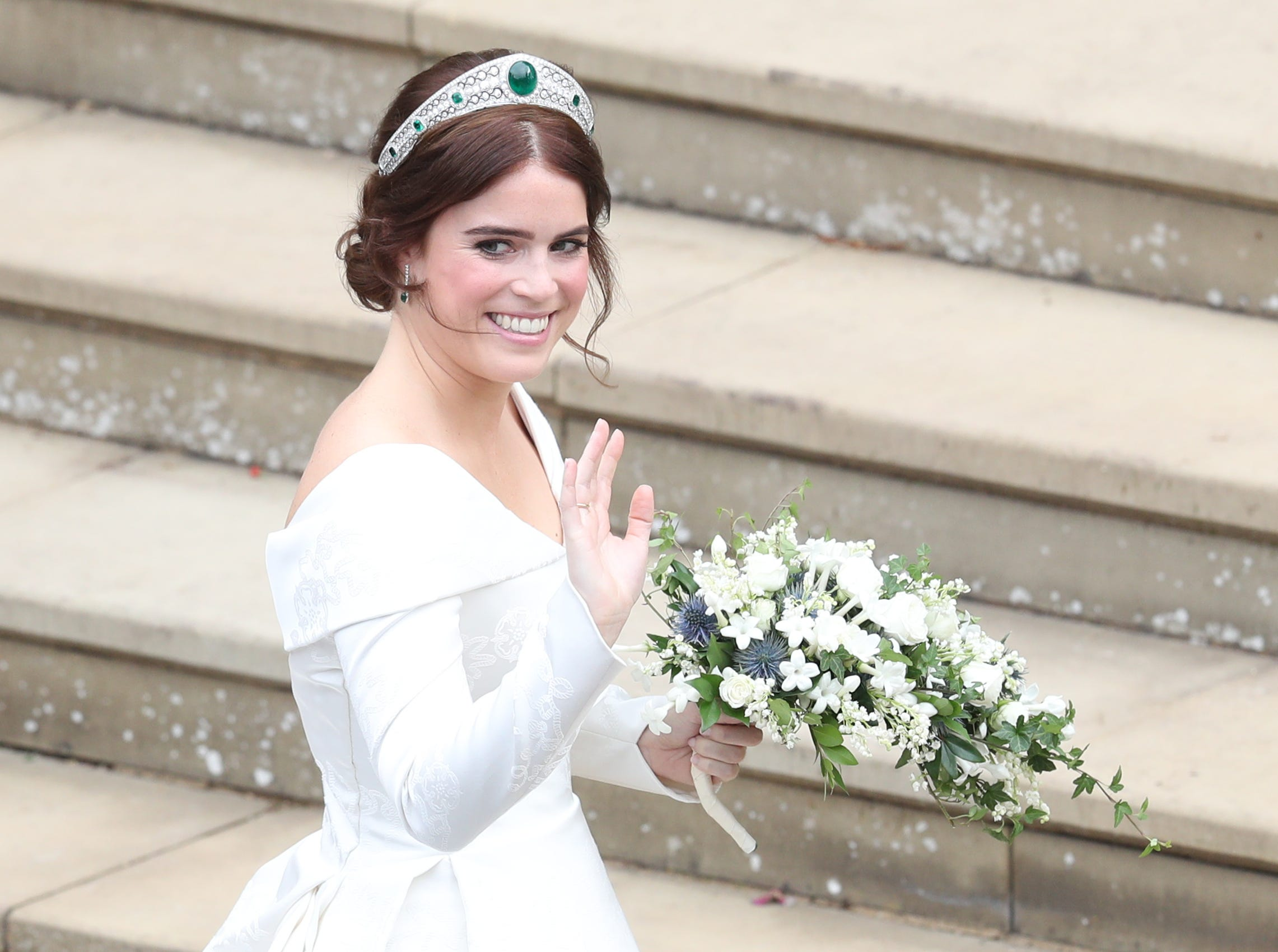 WINDSOR, ENGLAND - OCTOBER 12: Princess Eugenie of York arrives to be wed to Mr. Jack Brooksbank at St. George's Chapel on October 12, 2018 in Windsor, England. (Photo by Andrew Matthews - WPA Pool/Getty Images) ORG XMIT: 775239781 ORIG FILE ID: 1051952284