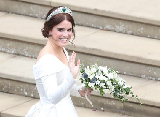 Eugenie wore the Greville Emerald Kokoshnik Tiara and no veil, a smart move given the blustery winds in Windsor Friday.