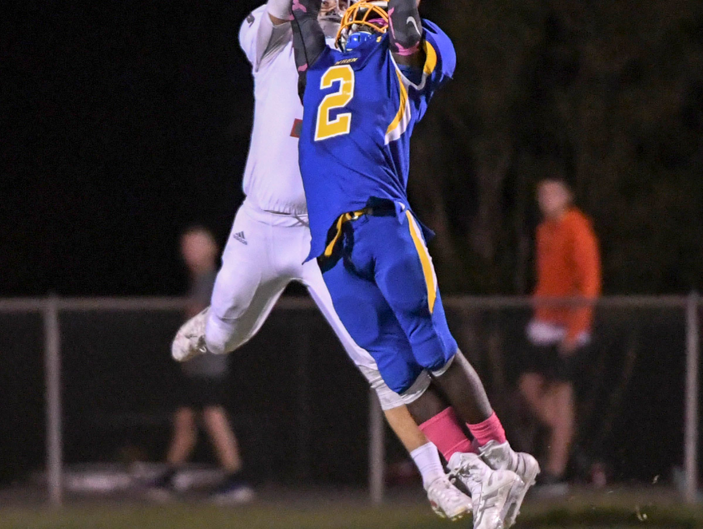 Palmetto junior Blakely Williams catches a long pass from quarterback Blair Garner over Wren junior Dez Frazier (2) for a touchdown during the first quarter at Wren High School in Piedmont on Friday, October 12, 2018.