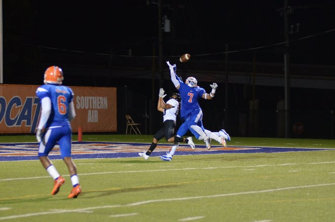 Louisiana College senior defensive back Anthony Hargrave defends the pass last week against Texas Lutheran.