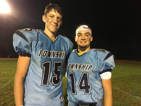 Freehold Township seniors Kyle Von Nessen and Nick Reardon, who connected on the winning TD pass.