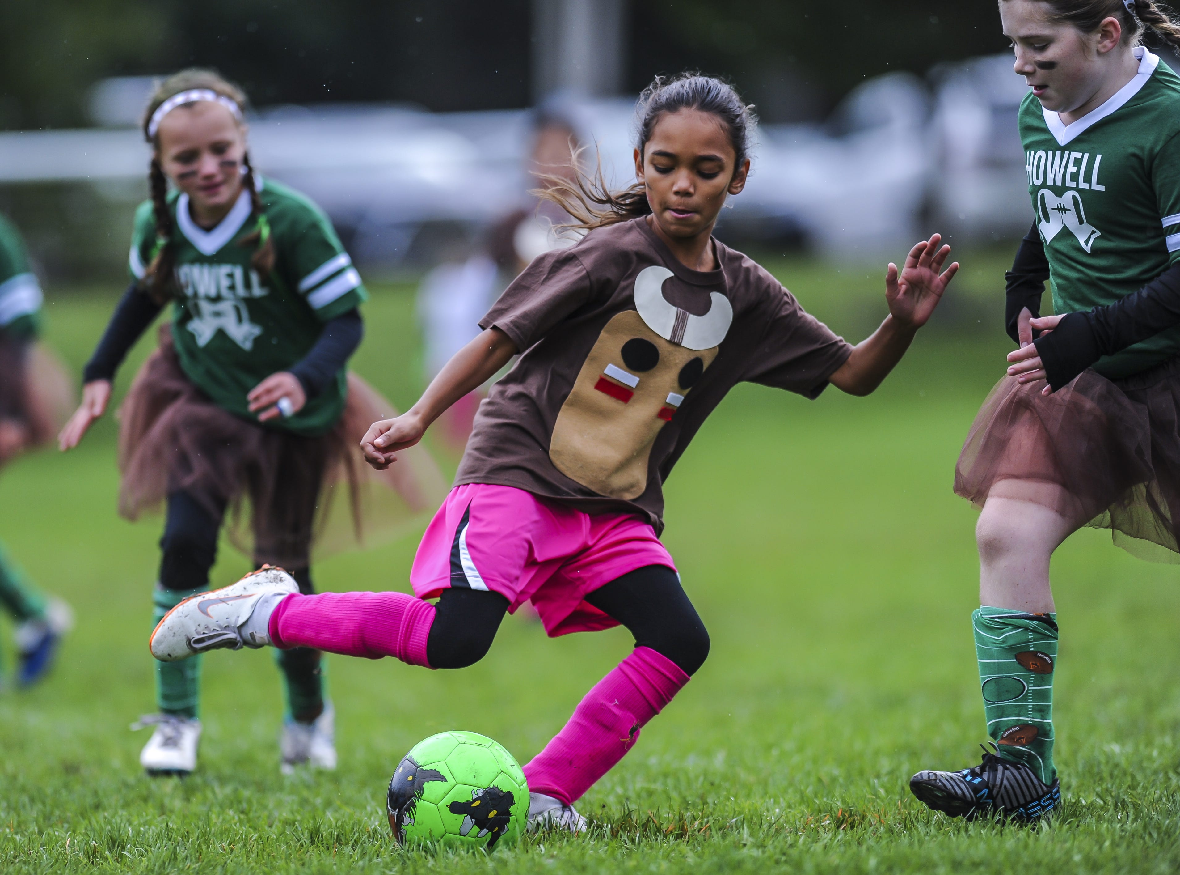 Old Bridge Strikers take on Howell Tornadoes in the Freehold Soccer League  Halloween-themed Fright Fest Tournament where teams wear Halloween costumes as uniforms and the fields are decked out with spooky decorations  at Michael J. Tighe Park in Freehold on Oct. 13, 2018.