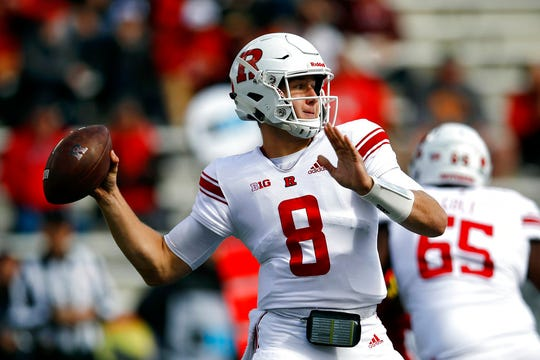 Rutgers quarterback Artur Sitkowski throws to a receiver in the first half of an NCAA college football game against Maryland, Saturday, Oct. 13, 2018, in College Park, Md. (AP Photo/Patrick Semansky)