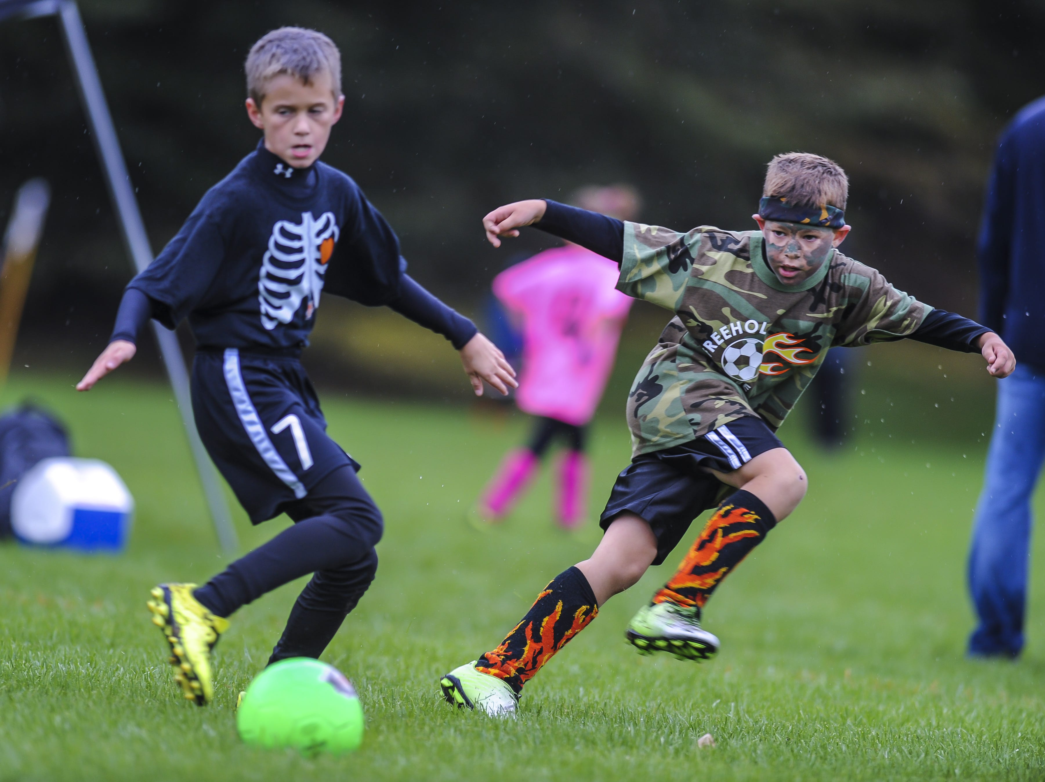 Hamilton Falcons take on Freehold Fire in the Freehold Soccer League  Halloween-themed Fright Fest Tournament where teams wear Halloween costumes as uniforms and the fields are decked out with spooky decorations  at Michael J. Tighe Park in Freehold on Oct. 13, 2018.