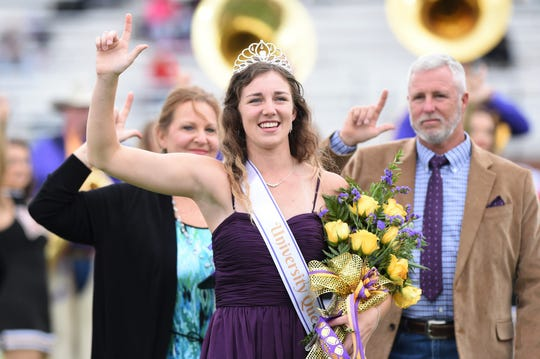 Hardin-Simmons University graphic design major Haley Sellers, of Willis, was named homecoming queen Friday night and then presented during halftime of Saturday's football game against Sul Ross State.