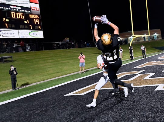 Abilene High wide receiver Reese Pettijohn catches a pass in the end zone Friday Oct. 12, 2018, scoring a touchdown against San Angelo Central. Final score was 17-15, San Angelo.