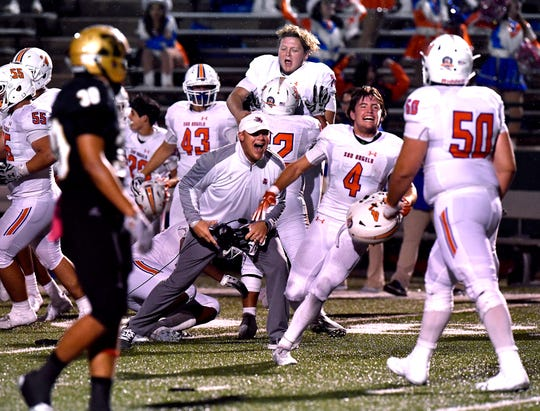 San Angelo Central players and coaches celebrate their win over Abilene High on Friday, Oct. 12, 2018. Miles Houser kicked a 37-yard field goal as time expired to give Central a 17-15 win.