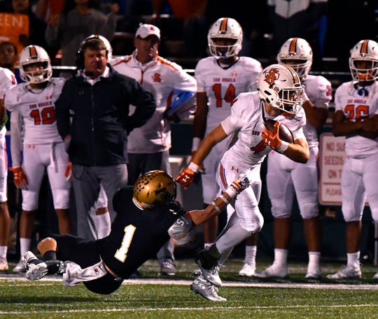 Abilene High defensive back Colton Wilson tries to make a tackle during last year's game against San Angelo Central. Wilson is a three-year starter for the Eagles and was named a captain for the 2019 season.