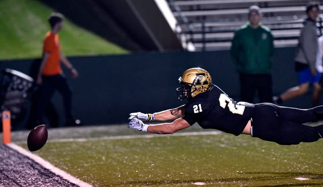 Abilene High wide receiver Reese Pettijohn dives for an overthrown pass during Friday's game against San Angelo Central at Shotwell Stadium in Abilene Oct. 12, 2018. The senior is now waiting to hear his playoff fate as his team sits on a bye in the final week of the season.