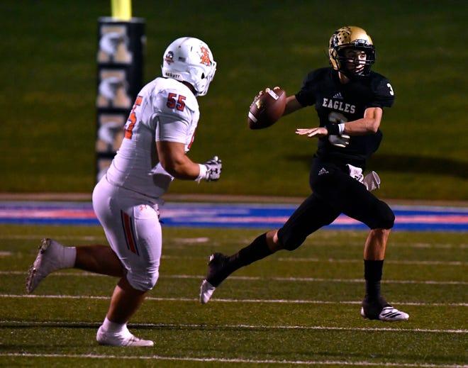 San Angelo Central defensive end Bradey Allen chases Abilene High quarterback Kallin Sipe during Friday's game Oct. 12, 2018. Final score was 17-15, San Angelo.